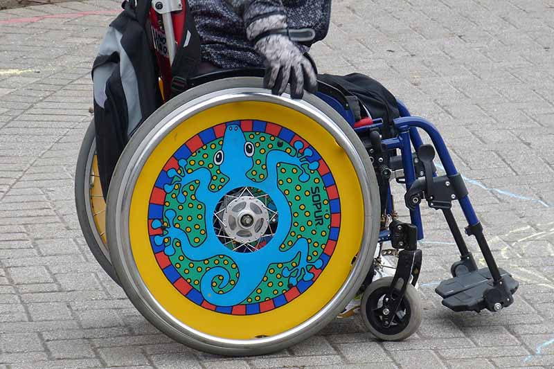 Picture of a colourful wheelchair with some art work on the wheels featuring a gecko